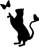 Cat playing with butterfly, symbol of Town Shopper